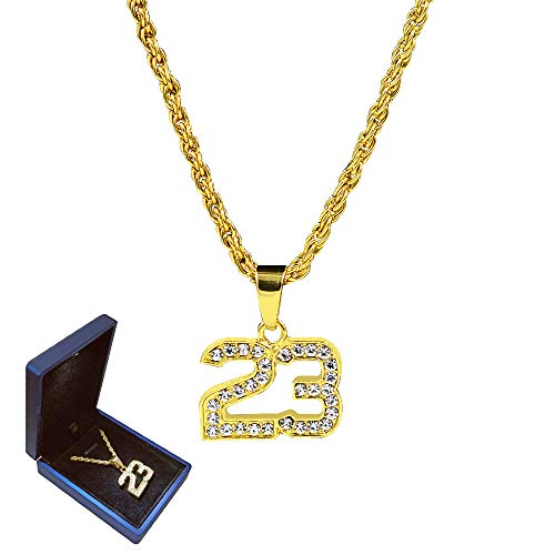 - Civbalen Mens Gold Plated Number 23 Pendant Necklace 30