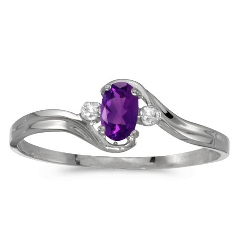 (10k White Gold Oval Amethyst And Diamond Ring (Size 5.5))