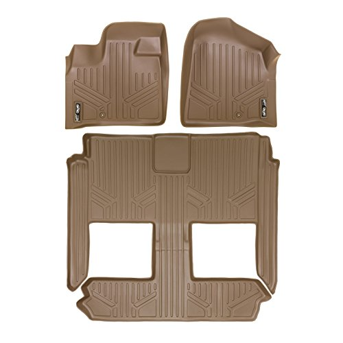 Town Caravan Chrysler Dodge Country (MAXFLOORMAT Floor Mats for Dodge Caravan/Chrysler Town & Country (2009-2015) (3 Row Set) (Tan))
