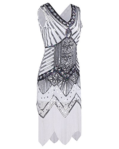Blanc Robe V ZKOO 1920 Frange Paillette Femmes Col Deco Art Cocktail de FWqx8wPpqE