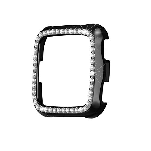 - bayite Case Compatible with Fitbit Versa, Lightweight Plastic Plated Color Full Cover Bumper Protective Frame Screen Protector Bling Diamonds, Black