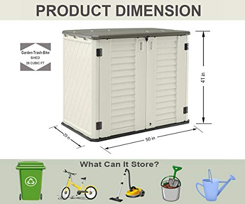 Garden and Outdoor HOMSPARK Horizontal Storage Shed Weather Resistance, Multi-Purpose Outdoor Storage Box for Backyards and Patios, 26… outdoor storage sheds