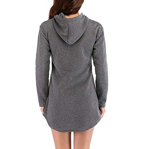 Pullover Temperament Women Casual Outerwear Women's Blouse Hooded Hoodie Gray Jersh Dark Sweatshirt Brief Sleeve Long Irregular Solid Coat 7wqFW1O