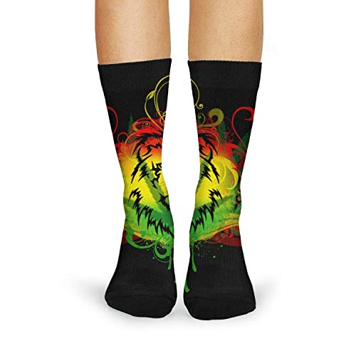Landsr Women's lion weed leaf Print Casual Fashion Novelty Crew Socks