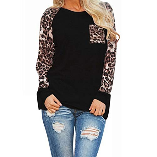 OMSJ XXL T-Shirt, Women's Long Sleeve Shirts Loose Blouse Sexy Leopard Chiffon Casual Tops Tunic (Black, XXL)