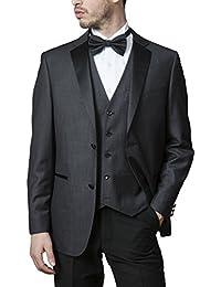 Men's Single Breasted Slim Fit 2-Button Vested Tuxedo & Suit Set - Colors