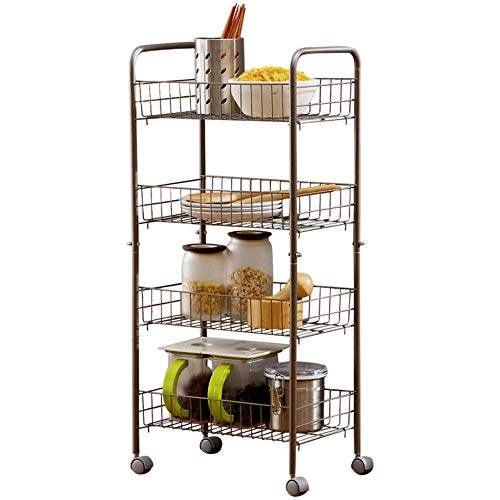 DENGS Multi-Function Tableware,Kitchen Four-Tier Wheeled Shelf Bathroom Detachable Storage Box Balcony Clip Crevice Organizer Floor-Standing Sort Out/Silver / 402685.5cm
