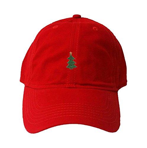 Adjustable Red Adult Christmas Tree Embroidered Deluxe Dad Hat (Embroidered Christmas Tree)