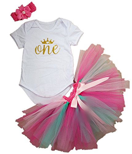 AISHIONY 3PCs Baby Girls' 1st Birthday Tutu Onesie Skirt Dress Headband Outfit,L,Rainbow,12 Months