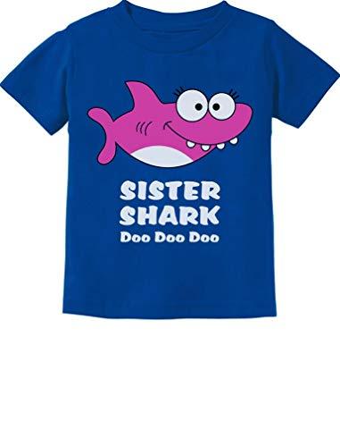 Tstars - Sister Shark Doo Doo Gift for Big Sister Toddler Kids T-Shirt 2T Blue ()