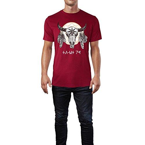 SINUS ART ® Büffel Totenschädel mit Traumfänger Herren T-Shirts in Independence Rot Fun Shirt mit tollen Aufdruck