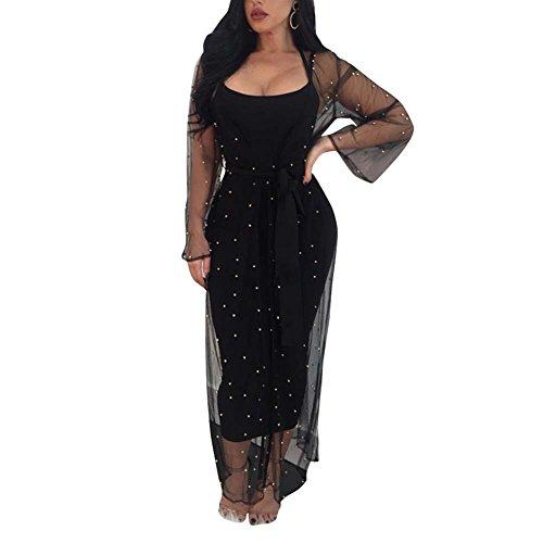 Joseph Costume Women Sleeveless Strappy Party Club Bandage Midi Dress with Studded Sheer Mesh Cover Up Cardigan Black M
