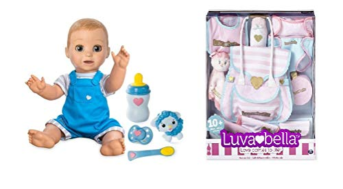 You&Me Luvabeau Baby Boy Interactive Doll Bundle with 10 Pc Diaper Bag Nursery Set