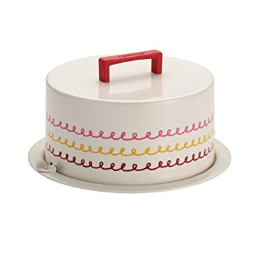 Cake Boss Serveware Metal Cake Carrier, Cream,  Icing