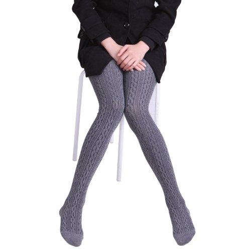 Hde Womens Winter Stockings Cable Knit Footed Tights Gray Buy