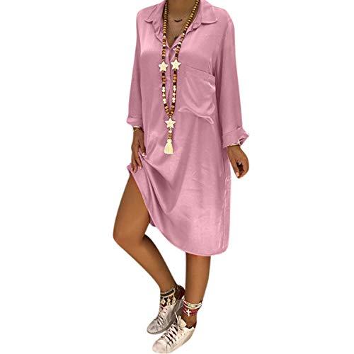 Manga Midi Con Camisa Bolsillo Solapa Larga Blusa De Mujer Para Pink Y Botones 8qq6Fx5WA
