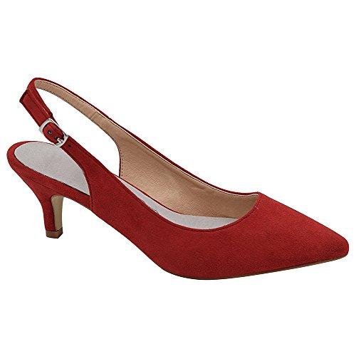 Hecater Femmes Chaussures À Talons Aiguilles, Bout Pointu Bride À La Cheville Sangle Bas Talons Aiguilles Robe Rouge
