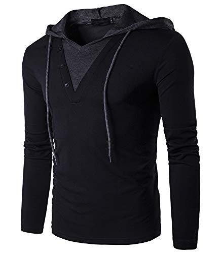 Guoji Mens Casual Hoodies Slim-Fit Hooded T-Shirt B24 Black Medium (Casual Sleeve Hooded Long)