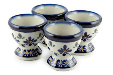 - Blue Rose Polish Pottery Mosaic Flower Egg Cup Set