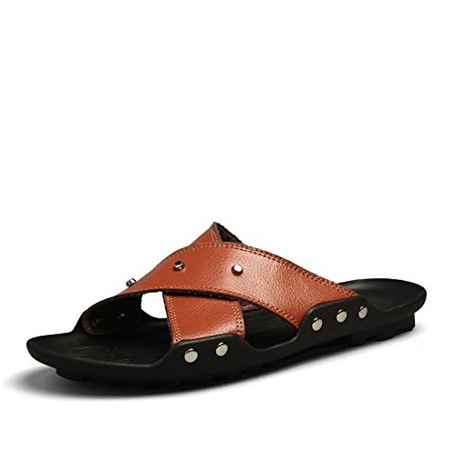 Xing Lin Sandalias De Hombre Verano Flip Flop Sandalias Sandalias De Playa De Hombres Marea Británica Light Brown