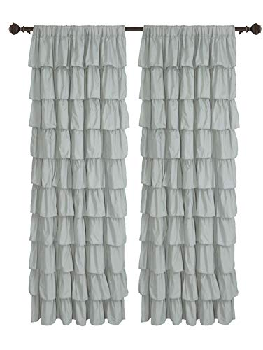 spring Home FLAMENCO Ruffled white Fabric Window Curtain (60