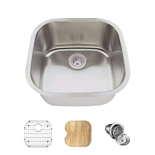 2020 16 Gauge Stainless Steel Kitchen Ensemble (Bundle - 4 Items: Sink, Basket Strainer, Sink Grid, and Cutting Board) (Difference Between 16 And 18 Gauge Sinks)