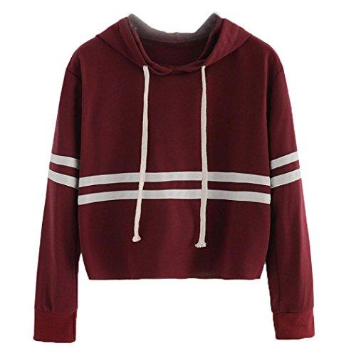 Womens Long Sleeve Hoodie Sweatshirt Jumper Striped Pullover Tops Blouse by Keepfit (L, Wine Red)