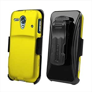 Beyond Cell Kyocera Hydro Edge C5215 Kombo Protex Rubber Case and Holster with Screen Protector - Non-Retail Packaging - Yellow