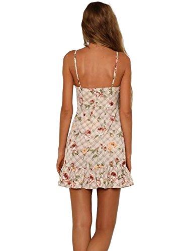 YiKeZhiXiu Dress V Strap Beach with Women's Lining Mini Summer Backless Print Spaghetti Neck Flowerinwhite1 Deep Floral rqUrwnBA