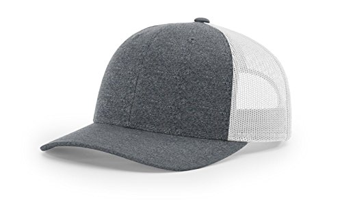 Richardson 115 Snapback Truckers Cap, Heather Navy/Silver, Adjustable -