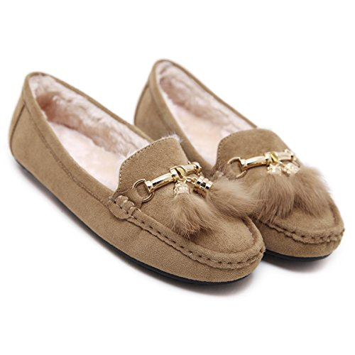 Moccasin apricot Outdoor Flat Loafer Lined BELLOO Shoes Slippers Ladies Wool qSFPp