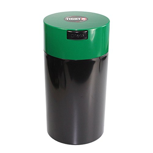 Tightpac America, Inc. Tightvac - 3 to 12 Oz Vacuum Sealed Storage Container, 1.3-Liter/1.1-Quart, Green Cap & Black Body