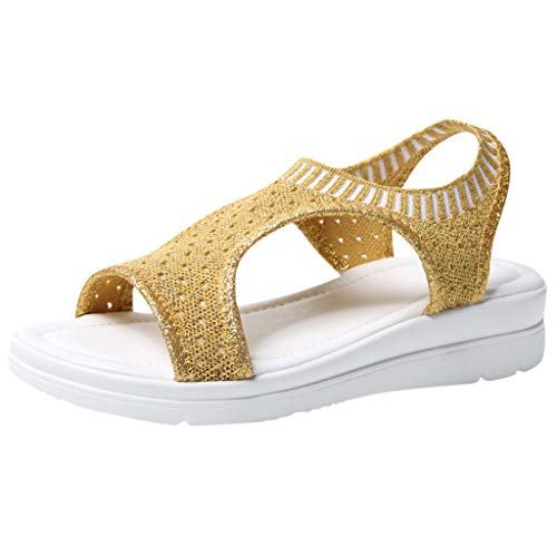 Haalife◕‿Womens Mesh Platform Sandal Non Slip Open Toe Summer Breathable Slip On Backstrap Sandals Gold