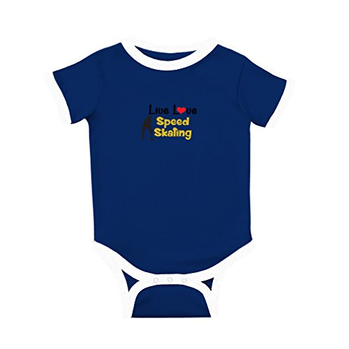 Blue Jersey Skating (Cute Rascals Live Love Speed Skating Sport Cotton Short Sleeve Crewneck Unisex Baby Soccer Bodysuit Sports Jersey - Royal Blue, 6 Months)