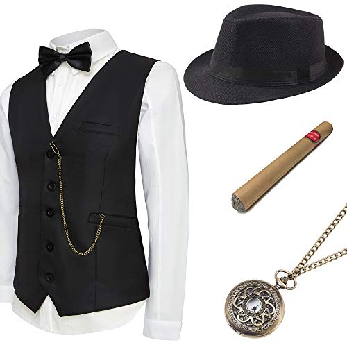 BABEYOND 1920s Mens Gatsby Gangster Vest Costume Accessories Set Manhattan Fedora Hat Bowtie Plastic Cigar Vintage Pocket Watch (Black, Large -