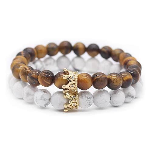 POSHFEEL Couple Tiger Eye Stone & White Howlite CZ Crown Queen 8mm Beads Bracelet, 7.5