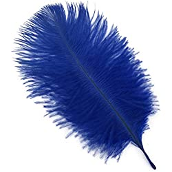 Shekyeon Royal Blue 8-10inch 20-25cm Ostrich Feather Plumes Wedding Centerpiece Table Decoration Pack of 20