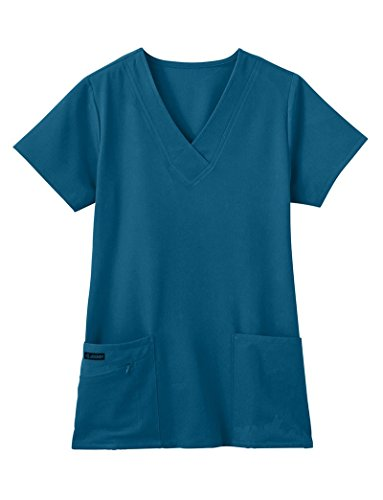 Classic Fit Collection by Jockey Women's Tri Blend Solid Scrub Top Large Caribbean Blue ()