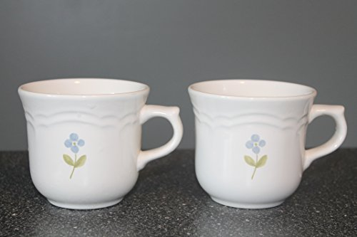 Garland by Pfaltzgraff Set of 2 Flat Mugs / Cups Blue & Pink Flowers Discontinued. Actual: 1983 - 1991