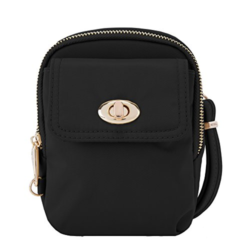 Travelon Women's Anti-Theft Tailored Crossbody Phone Pouch Cross Body Bag, Onyx, One Size