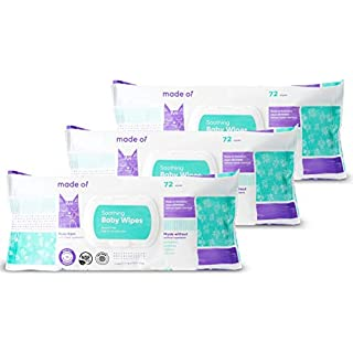 Organic Baby Wipes by MADE OF - Soothing Soft for Sensitive Skin and Eczema - NSF Organic and EWG Verified - Made in USA - Fragrance Free/Unscented, 3-Pack (216 Count)
