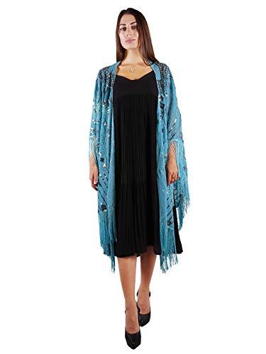 Anna-Kaci Womens Oversize Hand Beaded Fringed Sequin Evening Shawl Wrap, Blue, Onesize ()