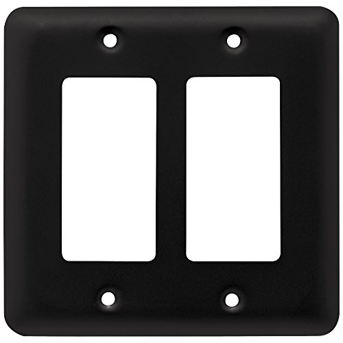 Round Plug Cover (Franklin Brass W10252-FB-C Stamped Round Double Decorator Wall Plate/Switch Plate/Cover, Flat Black)