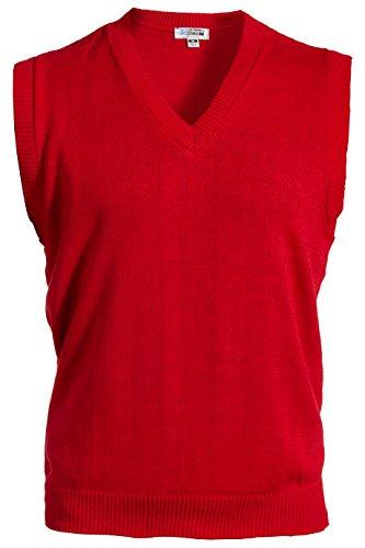 V-neck Performance Sweater Vest (Edwards Garment Sleeveless V-Neck Durable Sweater Vest, RED, XX-Large)