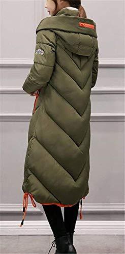 Lunga Huixin Costume Puro Con Trench Anteriori Piumino Grün Coulisse Tasche Donna Colore Cerniera Invernali Manica Windbreaker Confortevole Cappotti fUqtrCZUwx