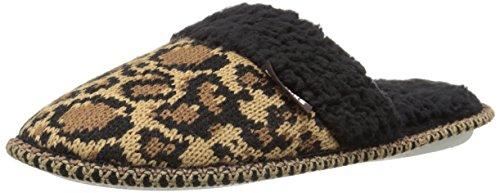 Muk Luks Womens Fairisle Knit Scuff Mule Leopard