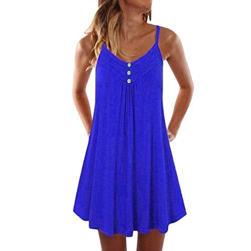 (Aniywn Women Sleeveless Spaghetti Strap Dress Button Down Casual Pleated Flowy Swing Midi-Dress)