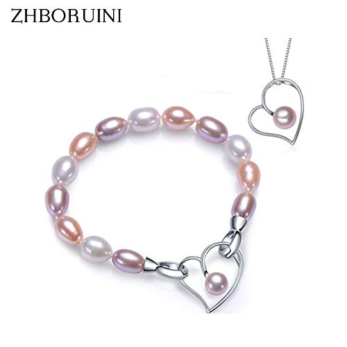 (Gabcus Fashion Pearl Jewelry Charm Bracelet Natural Freshwater Pearl 925 Sterling Silver Multicolour Pearl Bracelet Wedding)