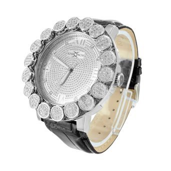 Real Diamond Khronos Watch 1 Row Bezel 14K White Gold Finish Analog Watch (14k Gold Watch Leather Strap)