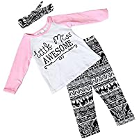Baby Girl Outfits Set Letter Long Sleeve Tops T-shirt and Pants with Headband...